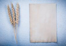 Strato di carta pulito d'annata delle orecchie della segale sull'orizzontale blu del fondo Fotografie Stock Libere da Diritti