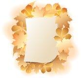 Strato di carta sui fogli di autunno della priorità bassa. Immagini Stock Libere da Diritti