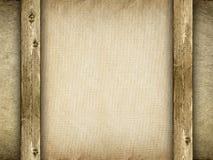 Strato di carta sulla priorità bassa della tela di canapa Fotografia Stock Libera da Diritti