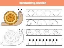 Strato di pratica della scrittura Gioco educativo dei bambini, foglio di lavoro stampabile per i bambini Scrittura che prepara fo illustrazione di stock
