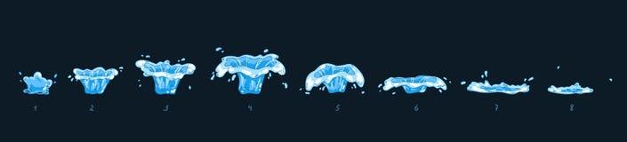 Strato di Sprite della struttura di animazione di effetto della spruzzata dell'acqua Gocce trasparenti di acqua per l'animazione  Fotografie Stock