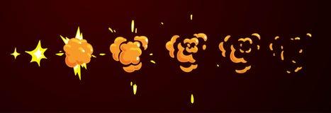 Strato di Sprite di un'esplosione piana Animazione per il fumetto o il gioco Immagini Stock Libere da Diritti