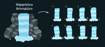 Strato di Sprite di una cascata Animazione della cascata per progettazione del gioco royalty illustrazione gratis