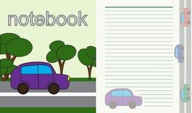 Strato per il taccuino del ` s dei bambini automobile sulla strada con gli alberi Vettore Fotografia Stock