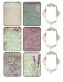 Strato stampabile dell'etichetta - carte del giornale - Rose Collage Tags floreale romantica - faccia scorrere i frami illustrazione di stock