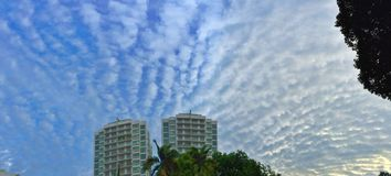 Stratocumulus clouds. Panoramic view of stratocumulus clouds in the late afternoon sky in Singapore royalty free stock photos