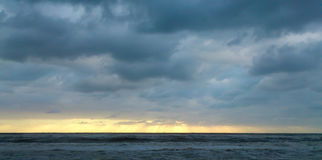 Stratocumulus, Viareggio, Italy. A sea and cloudscape from the beach in Viareggio, Italy Stock Photo