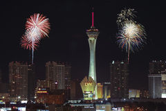 A Stratosphere Fireworks View from McCarran International Airpor Stock Photos