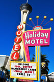 Stratosphere Hotel in Las Vegas, United States. LAS VEGAS - OCTOBER 13: Colorful sign in front of Stratosphere Las Vegas on October 13, 2011 in Vegas Stock Photography