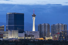 Stratosphere Tower Dusk Las Vegas. Las Vegas, Nevada, USA - June 10, 2015:  Stormy dusk sky behine the Stratosphere and Fontainebleau towers on the Las Vegas Royalty Free Stock Photos