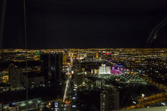 Stratosphere tower of Las Vegas at night, nevada. LAS VEGAS, NEVADA - APRIL 10, 2015 : aerial view of the city from the stratosphere building, in Las Vegas Royalty Free Stock Photos