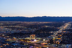 Stratosphere tower of Las Vegas at night, nevada. LAS VEGAS, NEVADA - APRIL 10, 2015 : aerial view of the city from the stratosphere building, in Las Vegas Stock Image