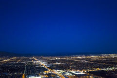 Stratosphere tower of Las Vegas at night, nevada. LAS VEGAS, NEVADA - APRIL 10, 2015 : aerial view of the city from the stratosphere building, in Las Vegas Stock Photos
