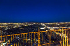 Stratosphere tower of Las Vegas at night, nevada. LAS VEGAS, NEVADA - APRIL 10, 2015 : aerial view of the city from the stratosphere building, in Las Vegas Stock Photography