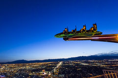 Stratosphere tower of Las Vegas at night, nevada. LAS VEGAS, NEVADA - APRIL 10, 2015 : aerial view of the city from the stratosphere building, in Las Vegas Stock Photo