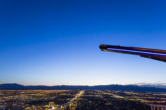 Stratosphere tower of Las Vegas at night, nevada. LAS VEGAS, NEVADA - APRIL 10, 2015 : aerial view of the city from the stratosphere building, in Las Vegas Stock Images