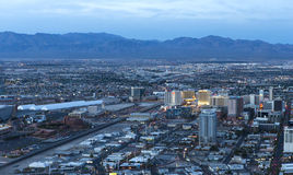 Stratosphere tower of Las Vegas at night, nevada. LAS VEGAS, NEVADA - APRIL 10, 2015 : aerial view of the city from the stratosphere building, in Las Vegas Royalty Free Stock Images