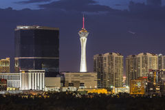 Stratosphere Tower Las Vegas Night. Las Vegas, Nevada, USA - June 10, 2015:  Stormy night sky behind the Stratosphere and Fontainebleau towers on the Las Vegas Royalty Free Stock Photo