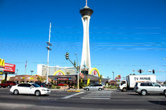 Stratosphere and Vintage style McDonald's, Las Vegas, NV. Old and the new.  A Vintage/retro style McDonalds Restaurant is in front of the modern day style Stock Image