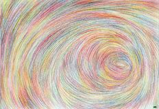 Stratospheric spiral structures. The painting is made in multi-color pencils on paper. The image size is about A4 Stock Photo