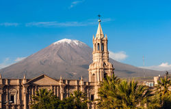 Stratovolcano El Misti, Arequipa, Peru. Volcano El Misti overlooks the city Arequipa in southern Peru. Arequipa is the second most populous city of the country Stock Photography