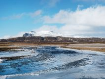 Straumfjardara jest łososiowym rzeką lokalizować na Snaefellsnes półwysepie w Zachodnim Iceland fotografia stock