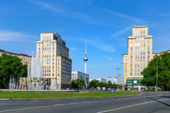 Strausberg Square in Berlin. Strausberg Square in the district of Friedrichshain with a view to the TV tower at Alexanderplatz, Berlin Royalty Free Stock Images