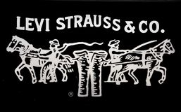 strauss för jeanslevi logo stock illustrationer