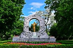 Strauss statue in Wien stock images