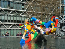 Stravinsky Fountain in the background of the Pompidou Centre in Stock Photos