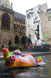 Stravinsky fountain. Paris,France -July 9th 2014: Stravinsky fountain next to centre Pompidou. This is a fountain featuring 16 sculptures that move and spray Royalty Free Stock Image