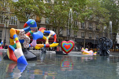 Stravinsky Fountain in Paris, France Royalty Free Stock Photography