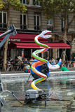 Stravinsky Fountain in Paris Stock Photo