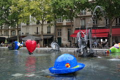 Stravinsky Fountain. Strange but beautiful fountain in the center of Paris Royalty Free Stock Photos