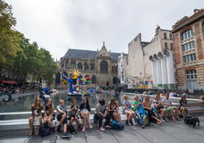 Stravinsky Fountain with 16 works of sculpture. Paris, France. Stock Photos