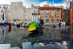 Stravinsky springbrunn Paris Arkivbilder