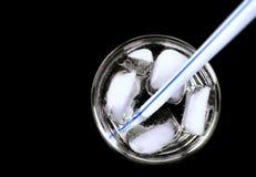 Straw&ice dans une glace Images libres de droits