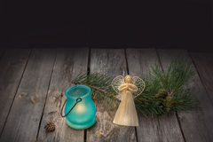 Straw angel, pine branch and the   lantern Stock Image