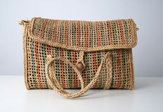 Straw bag. Straw and colored handmade bag Royalty Free Stock Image