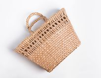 Straw bag basket isolated on the white backgroun stock photo