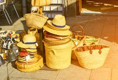 Straw bags in boutique Stock Photo