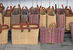 Straw bags at open air market Royalty Free Stock Photography