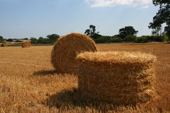 Straw Bale 3. Round Straw bales in a field with one fallen over Stock Photos