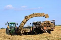Straw bale and agricultural engineering Royalty Free Stock Photo