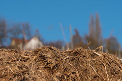 Straw bale in foreground. With blurred background Royalty Free Stock Photography