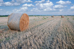 Straw bale hay stack on golden sunny day. Straw bale / hay stack on golden sunny day with white clouds in the background Stock Photos