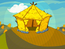 Straw bale house on the hill drawn in cartoon style Royalty Free Stock Photo