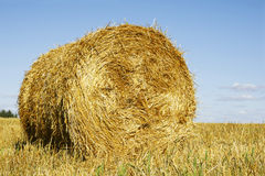 Straw bale and sky Royalty Free Stock Photo