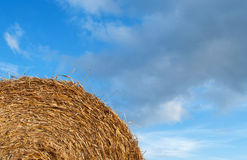 Straw bale and sky. Texture. Background royalty free stock images