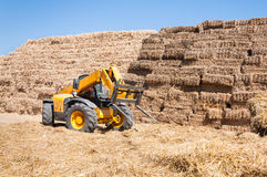 Straw bale stack storage machine Stock Images
